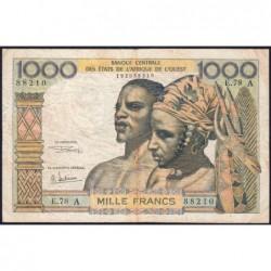 Côte d'Ivoire - Pick 103Ag - 1'000 francs - Série E.78 - 1970 - Etat : TB