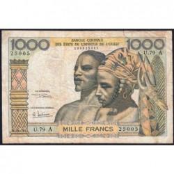 Côte d'Ivoire - Pick 103Ag - 1'000 francs - Série U.79 - 1970 - Etat : TB-