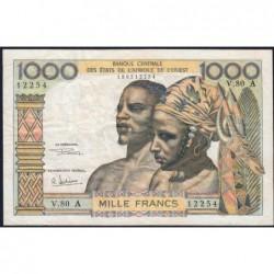 Côte d'Ivoire - Pick 103Ag - 1'000 francs - Série V.80 - 1970 - Etat : TB+