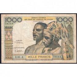 Côte d'Ivoire - Pick 103Ag - 1'000 francs - Série Z.80 - 1970 - Etat : TB