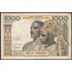 Côte d'Ivoire - Pick 103Ag - 1'000 francs - Série F.81 - 1970 - Etat : TB
