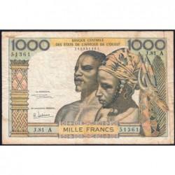 Côte d'Ivoire - Pick 103Ag - 1'000 francs - Série J.81 - 1970 - Etat : TB-
