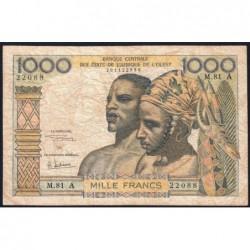 Côte d'Ivoire - Pick 103Ag - 1'000 francs - Série M.81 - 1970 - Etat : B+