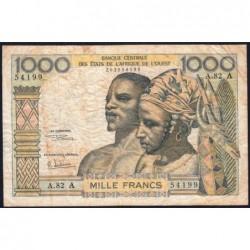 Côte d'Ivoire - Pick 103Ag - 1'000 francs - Série A.82 - 1970 - Etat : B+