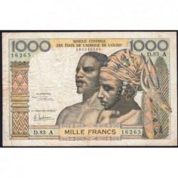 Côte d'Ivoire - Pick 103Ag - 1'000 francs - Série D.83 - 1970 - Etat : TB-
