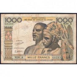 Côte d'Ivoire - Pick 103Ah - 1'000 francs - Série W.86 (billet de remplacement) - 1971 - Etat : TB-