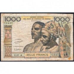 Côte d'Ivoire - Pick 103Ah - 1'000 francs - Série E.87 - 1971 - Etat : B+