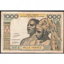 Côte d'Ivoire - Pick 103Ah - 1'000 francs - Série H.87 - 1971 - Etat : TB-