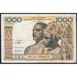 Côte d'Ivoire - Pick 103Ai - 1'000 francs - Série V.98 - 1973 - Etat : TB+