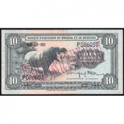 Burundi - Pick 2 - 10 francs - Série P - 05/10/1960 (1964) - Etat : TTB