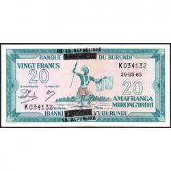 Burundi - Pick 15 - 20 francs - Série K - 20/03/1965 (1966) - Etat : NEUF
