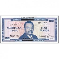 Burundi - Pick 17b - 100 francs - Série M - 01/07/1966 - Etat : SPL