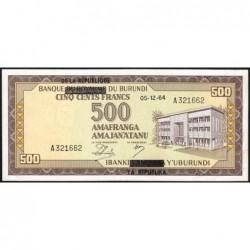 Burundi - Pick 18 - 500 francs - Série A - 05/12/1964 - Etat : SUP
