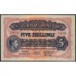 Afrique Orientale Britannique - Pick 28a_3 - 5 shillings - Série S/5 - 01/07/1941 - Etat : TB+