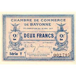 Bayonne - Pirot 21-49 - 2 francs - Série Y - 19/05/1917 - Etat : SPL