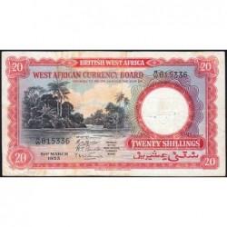 Afrique Occidentale Britannique - Pick 10_1 - 20 shillings - Série B/W - 31/03/1953 - Etat : TB+