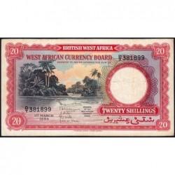 Afrique Occidentale Britannique - Pick 10_2 - 20 shillings - Série D/T - 01/03/1954 - Etat : TTB