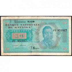 Katanga - Pick 6a - 20 francs - 21/11/1960 - Série FY - Etat : TB