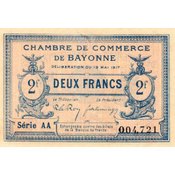 Bayonne - Pirot 21-52 - 2 francs - Etat : SUP