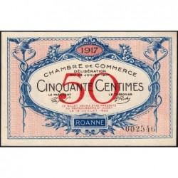 Roanne - Pirot 106-9 - 50 centimes - Sans série - 18/07/1917 - Etat : NEUF