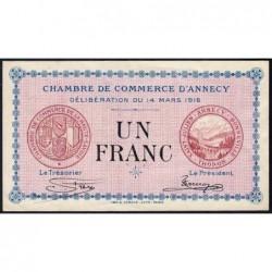Annecy - Pirot 10-5 - 1 franc - Série 198 - 14/03/1916 - Etat : TTB