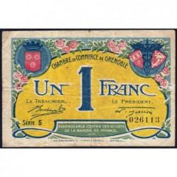 Grenoble - Pirot 63-20a - 1 franc - Série 8 - 08/11/1917 - Etat : TB-