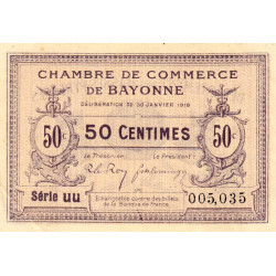 Bayonne - Pirot 21-55 - 50 centimes - Série uu - 30/01/1918 - Etat : SUP