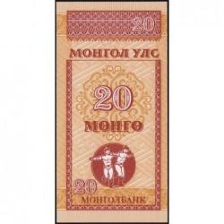 Mongolie - Pick 50 - 20 mongo - Série AA - 1993 - Etat : NEUF