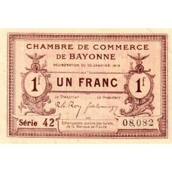 Bayonne - Pirot 21-59 - 1 franc - 1918 - Etat : SUP