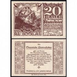 Autriche - Notgeld - Hinterstoder - 20 heller - Type e - 14/04/1920 - Etat : SPL
