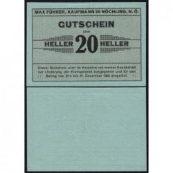Autriche - Notgeld - Nöchling - 20 heller - Type a - 1920 - Etat : NEUF