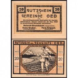 Autriche - Notgeld - Oed - 20 heller - 1920 - Etat : NEUF