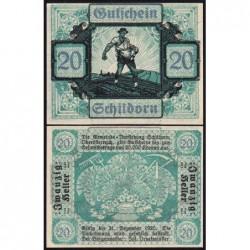 Autriche - Notgeld - Schildorn - 20 heller - Type c - 1920 - Etat : NEUF