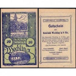 Autriche - Notgeld - Wechling - 20 heller - Type Ia - 1920 - Etat : NEUF
