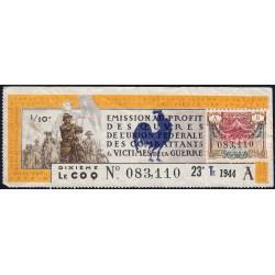 1946 - Loterie Nationale - 23e tranche - 1/10ème - Union Fédérale des Combattants - Etat : TB+