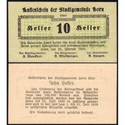 Autriche - Notgeld - Horn - 10 heller - 25/01/1920 - Etat : NEUF