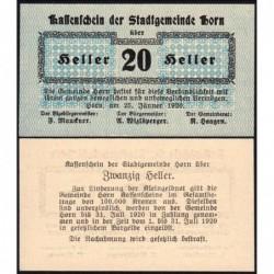 Autriche - Notgeld - Horn - 20 heller - 25/01/1920 - Etat : NEUF