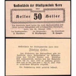 Autriche - Notgeld - Horn - 50 heller - 25/01/1920 - Etat : NEUF