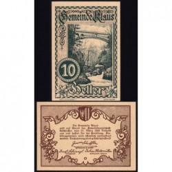 Autriche - Notgeld - Klaus - 10 heller - 1920 - Etat : NEUF