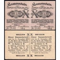 Autriche - Notgeld - Korneuburg - 2 x 10 heller - Type a - 03/1920 - Etat : SUP
