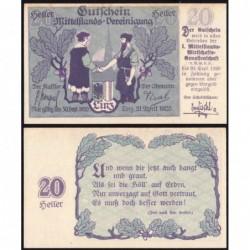 Autriche - Notgeld - Linz - 20 heller - 21/04/1920 - Etat : SPL