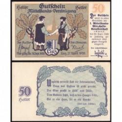 Autriche - Notgeld - Linz - 50 heller - 21/04/1920 - Etat : pr.NEUF