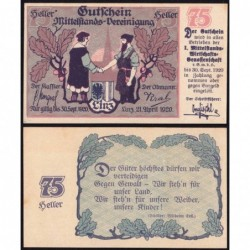 Autriche - Notgeld - Linz - 75 heller - 21/04/1920 - Etat : NEUF