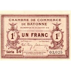 Bayonne - Pirot 21-59 - 1 franc - Série 54 - 30/01/1918 - Etat : SPL