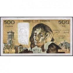 F 71-1 - 04/01/1968 - 500 francs - Pascal - Série D.2 - Etat : TB