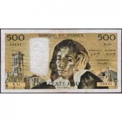 F 71-4 - 06/11/1969 - 500 francs - Pascal - Série D.14 - Etat : TB-