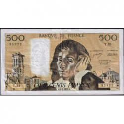 F 71-10 - 06/12/1973 - 500 francs - Pascal - Série Y.33 - Etat : TB