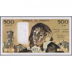 F 71-11 - 05/09/1974 - 500 francs - Pascal - Série F.43 - Etat : TTB