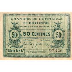 Bayonne - Pirot 21-61 - 50 centimes - Série kkk - 17/11/1919 - Etat : TTB
