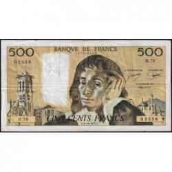 F 71-17 - 03/11/1977 - 500 francs - Pascal - Série B.76 - Etat : TB-
